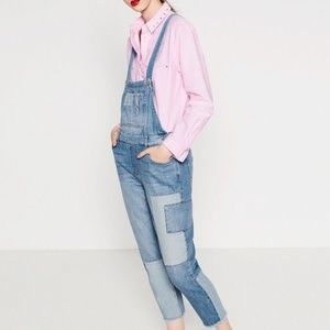 zara patched overalls